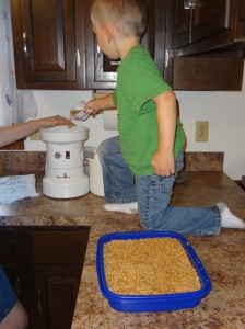 Pouring wheat into the mill