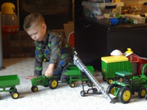 farm toys in living room
