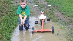 Mud puddle with tricycle