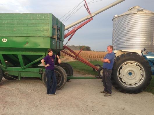 Girl unloading corn