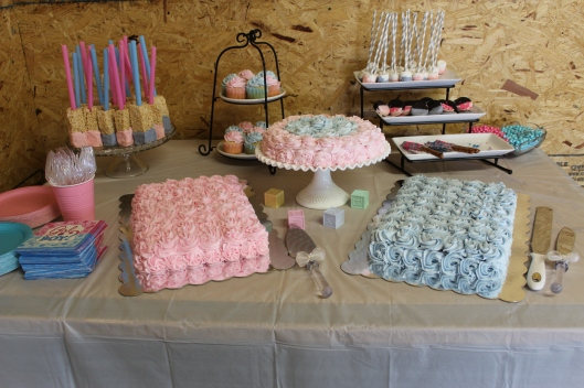 pink and blue cakes