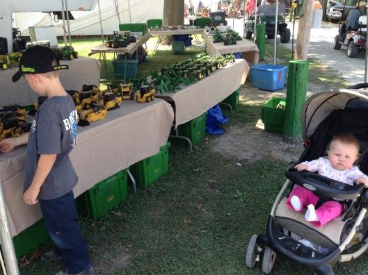 tables of farm toys